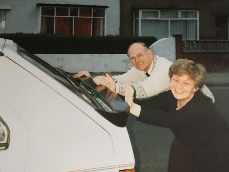 Mum and Dad pretending to push my new Skoda car. Skoda sponsored 55 girls with these cars. A great help in the early days.